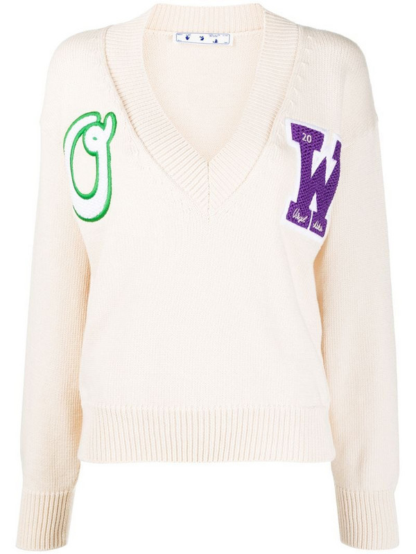 Off-White logo patch V-neck jumper in neutrals