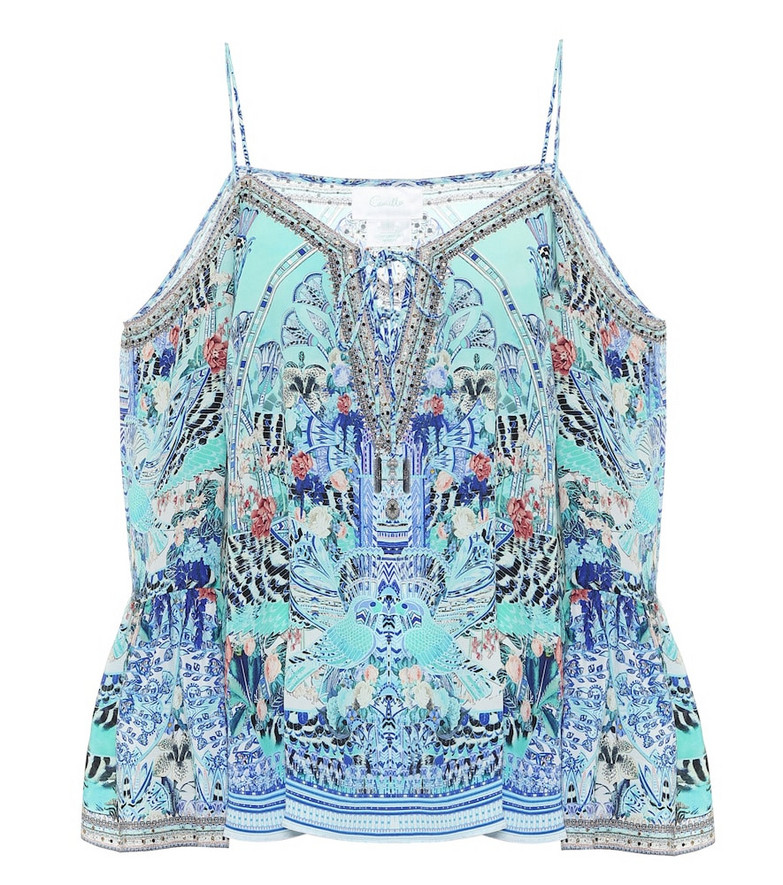 Camilla Embellished printed silk camisole in blue