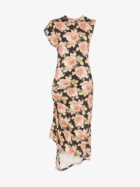Paco Rabanne Rose Print fitted midi dress