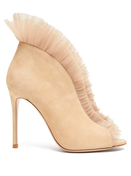 Gianvito Rossi - Vamp 105 Suede Ankle Boots - Womens - Nude