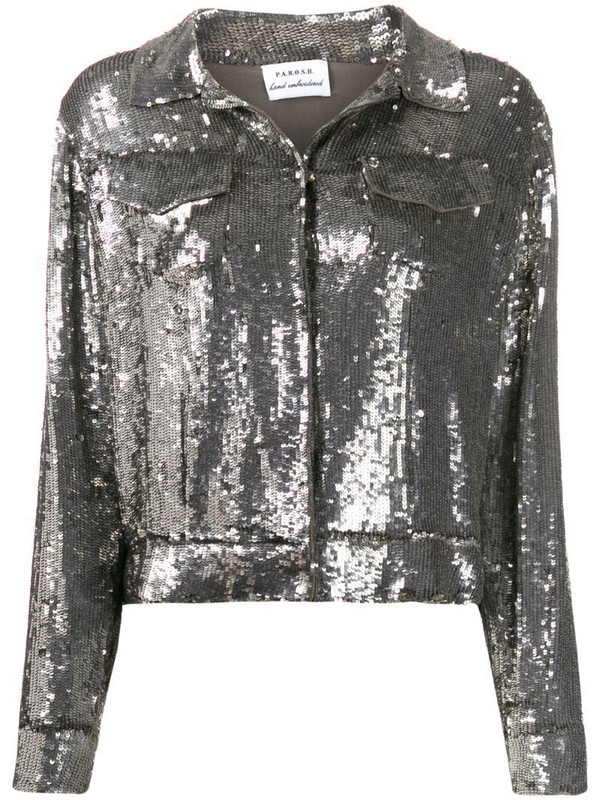 P.A.R.O.S.H. sequin cropped jacket in silver