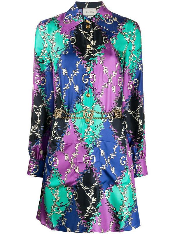 Gucci GG Rhombus Ramage shirt dress in blue