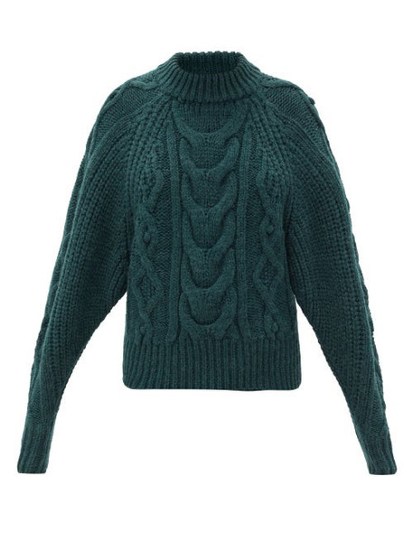 Isabel Marant - Flover Cable-knit Wool-blend Sweater - Womens - Dark Green