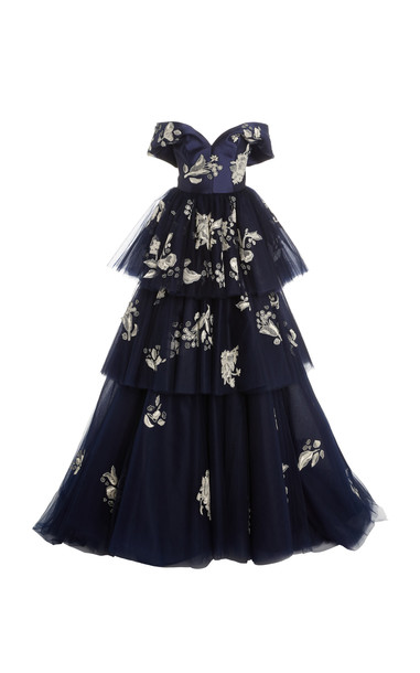 Carolina Herrera Off-The-Shoulder Tiered Embellished Gown in navy