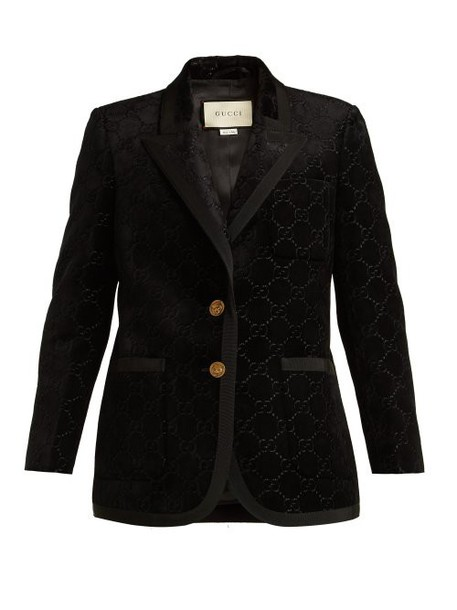 Gucci - Single Breasted Logo Jacquard Blazer - Womens - Black