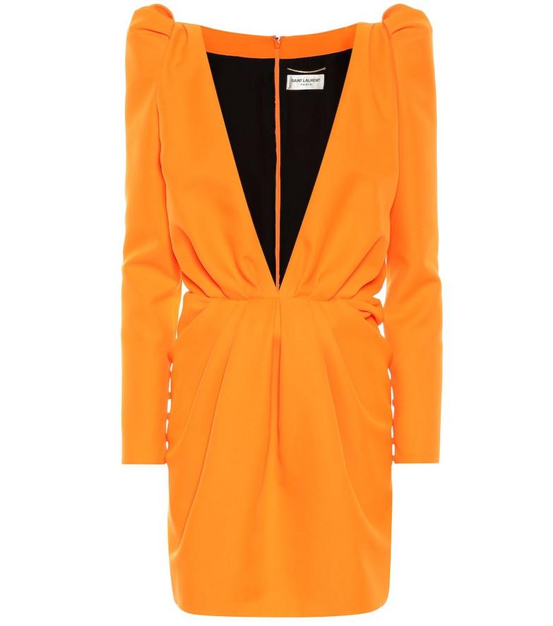 Saint Laurent Gabardine minidress in orange