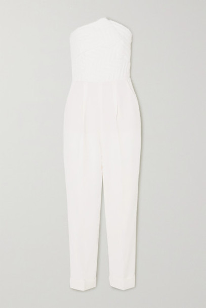 Roland Mouret - Haye Strapless Cloqué And Crepe Jumpsuit - White
