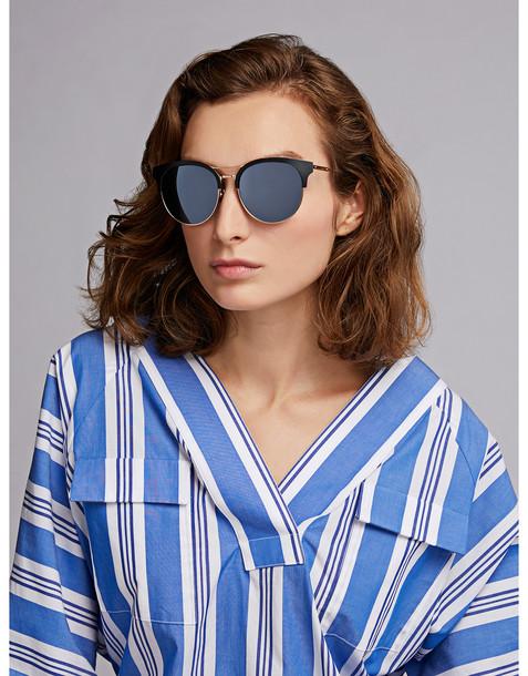 Bottega Veneta Metal Mirrored Cat-eye Frame Sunglasses Black