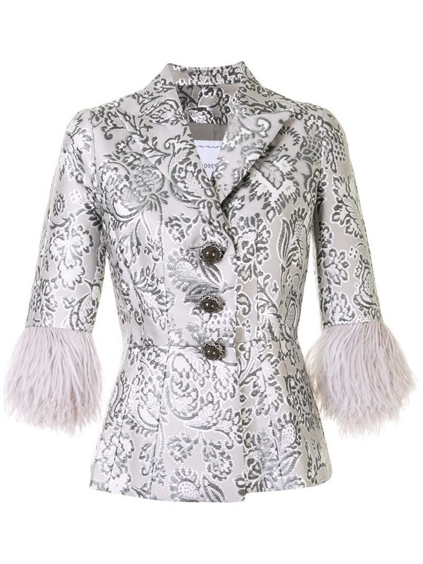 Andrew Gn floral brocade feather cuff jacket in silver