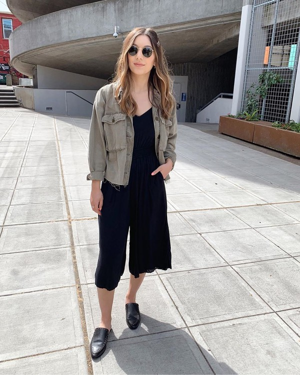 jumpsuit black jumpsuit cropped sleeveless mules denim jacket