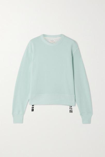 rag & bone - Frankie Zip-embellished Cotton-blend Jersey Sweatshirt - Blue