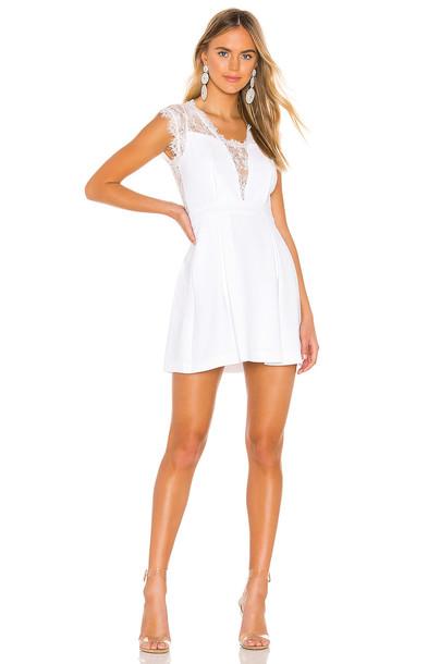 BCBGeneration Lace Trim Mini Dress in white
