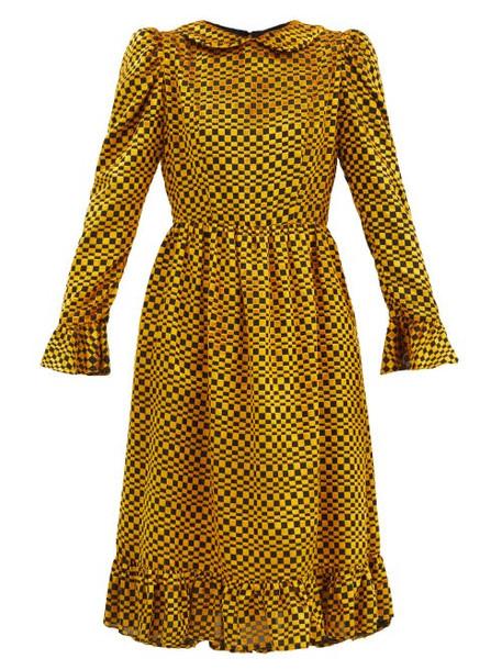 Batsheva - Puff-shoulder Checked Velvet-devoré Dress - Womens - Gold Multi