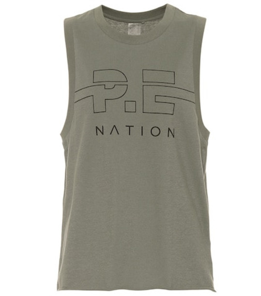 P.E Nation Spike cotton tank top in green