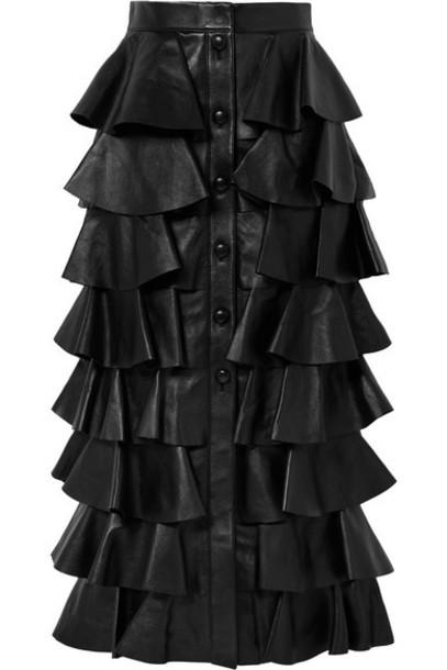 SAINT LAURENT - Tiered Ruffled Leather Maxi Skirt - Black