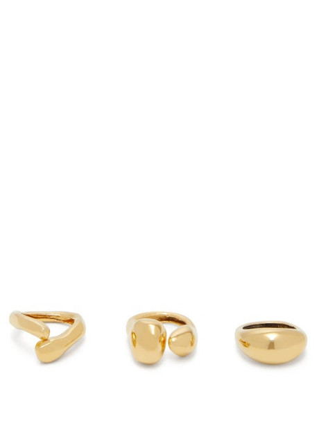 Misho - Set Of Three Pebble Gold Plated Rings - Womens - Gold