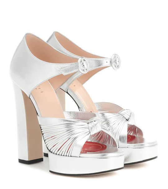 Gucci Crawford platform leather sandals in silver