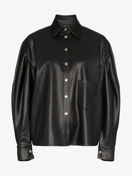 Anouki balloon-sleeve button-down shirt in black