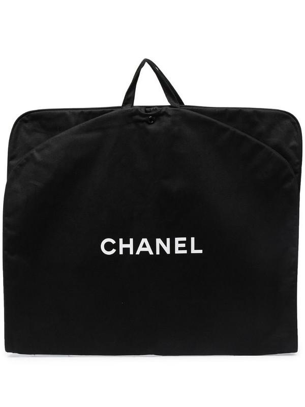 Chanel Pre-Owned logo print garment cover bag in black