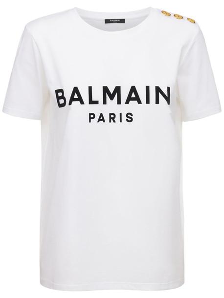 BALMAIN Logo Flocked Organic Cotton T-shirt in black / white