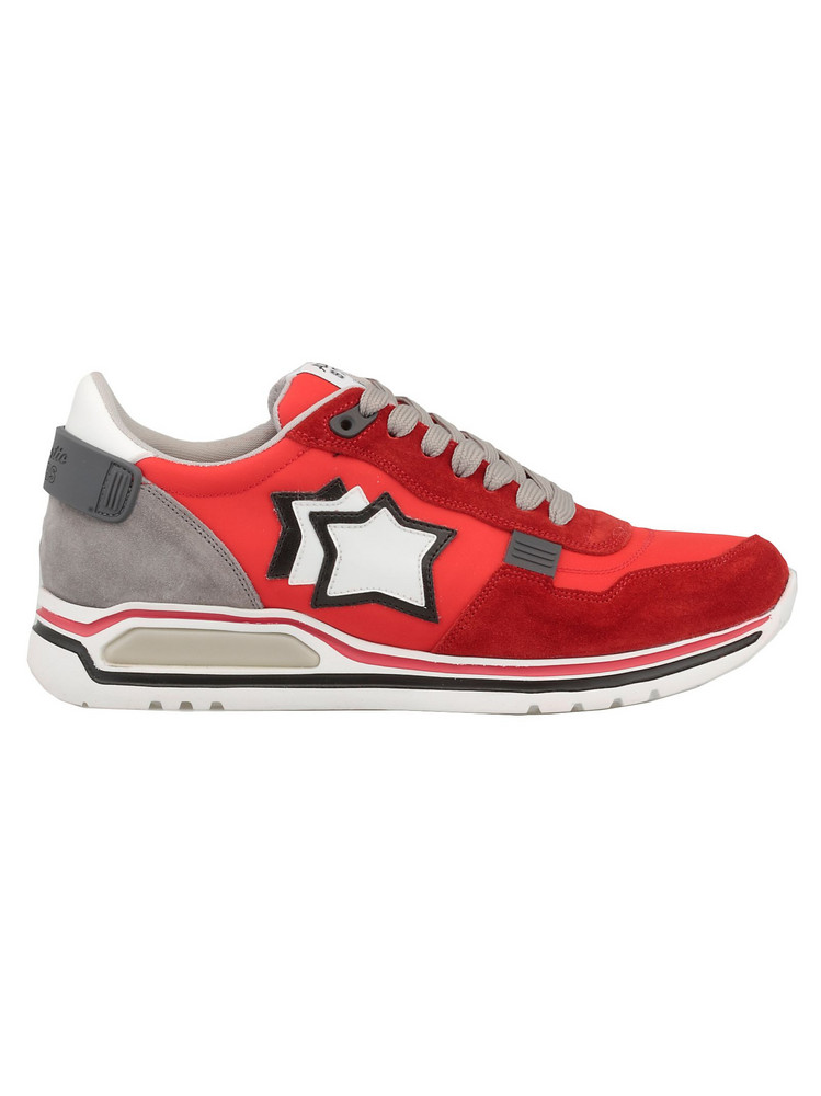 Atlantic Stars Leather And Tech Fabric Sneaker in red