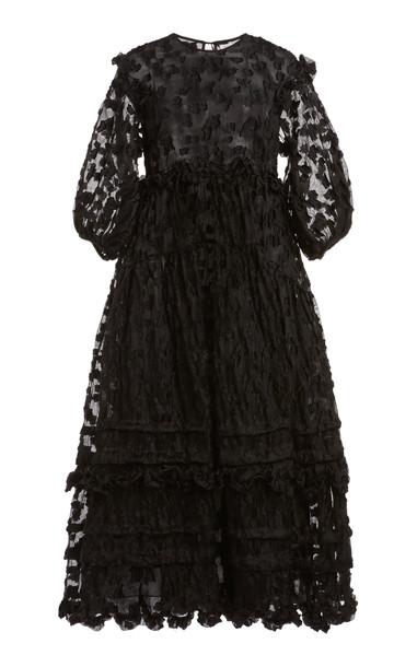 Cecilie Bahnsen Maren Floral-Embellished Organza Dress in black