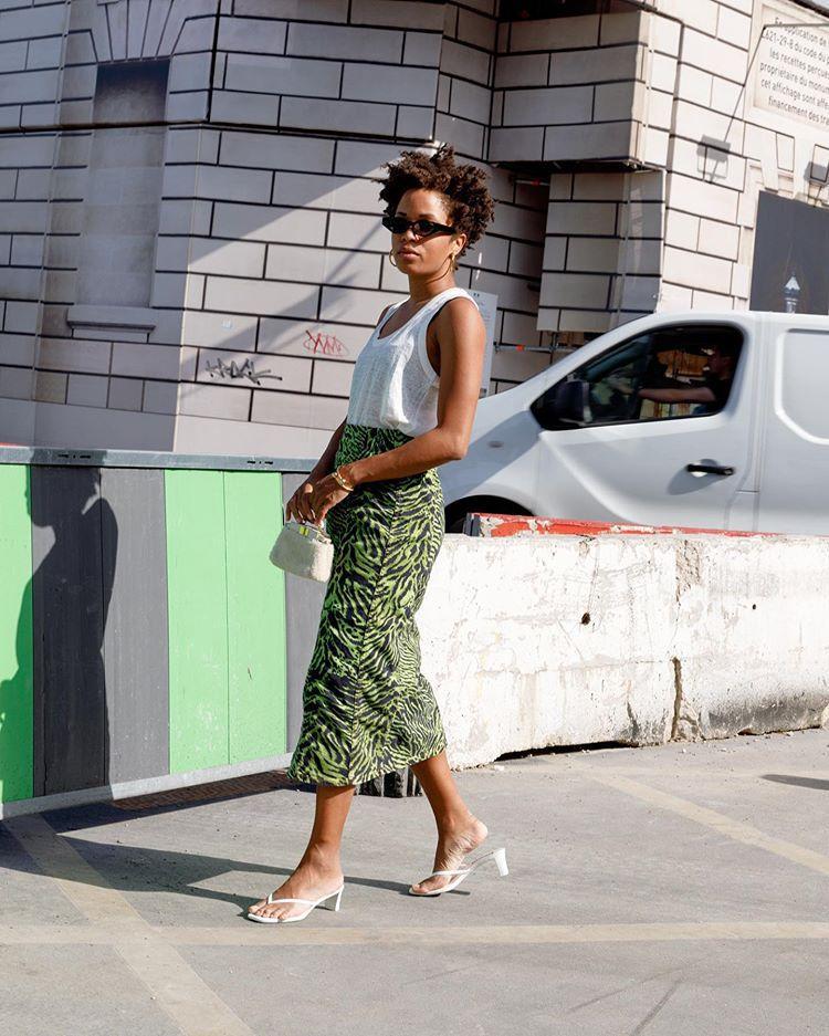 skirt midi skirt white sandals tank top white top handbag white bag