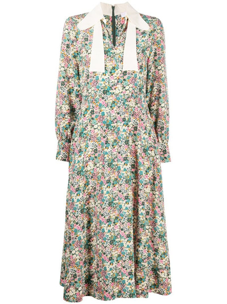 See by Chloé floral-print midi dress in pink