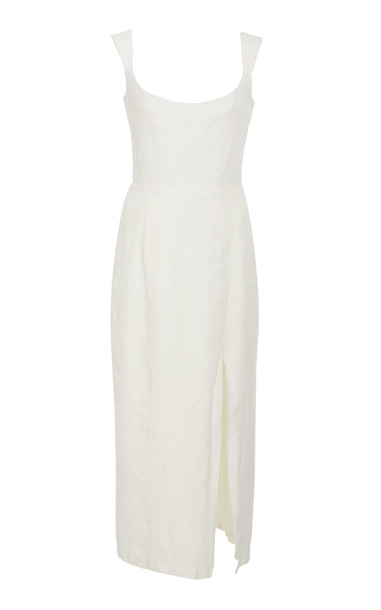 Markarian Exclusive Jeanne Linen Midi Dress in white