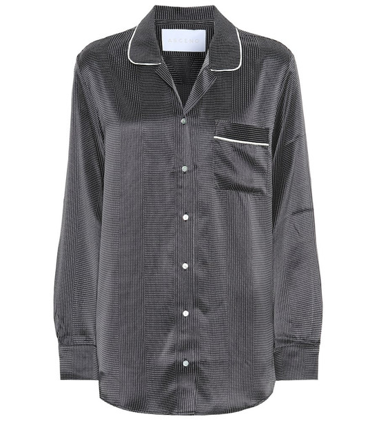 Asceno Silk pajama top in black