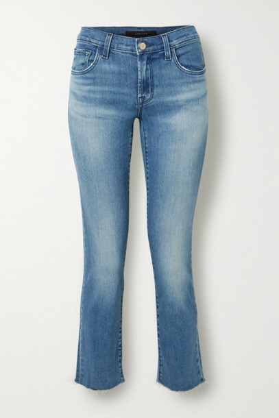 J Brand - Adele Cropped Distressed High-rise Slim-leg Jeans - Mid denim