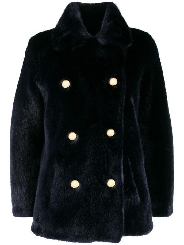 La Seine & Moi Brigitte faux-fur coat in blue