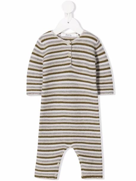 Bonpoint striped wool romper - Grey