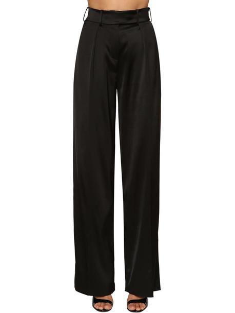 ALEXANDRE VAUTHIER High Waist Stretch Satin Pants in black