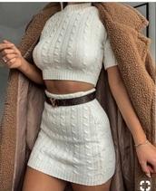 skirt,knitted skirt,cream skirt,knitwear