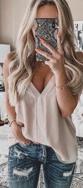 blouse,tan,top,shirt,cute,summer,vneck top,plunge v neck