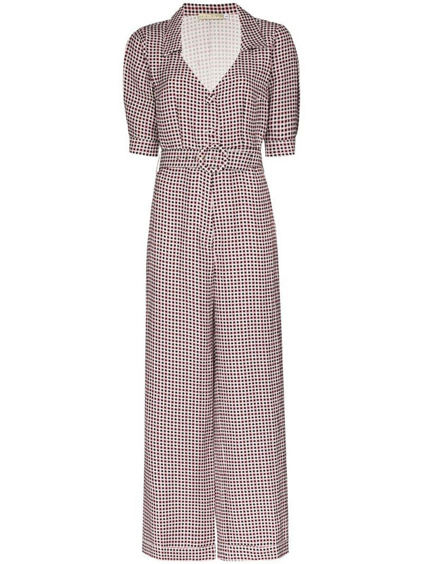 USISI SISTER belted checked jumpsuit in black