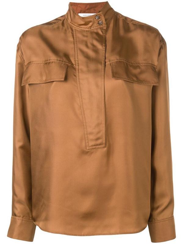 Cédric Charlier mandarin collar shirt in brown