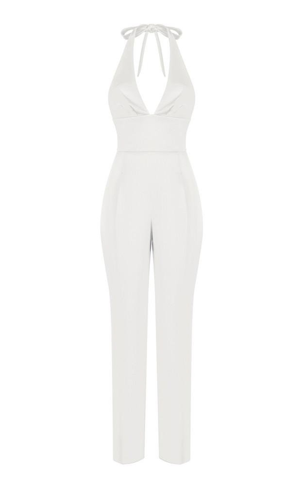 Rasario Satin Halter Cropped Jumpsuit in white