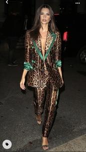 jacket,leopard print suit,leopard blazer,leopard print pants,emily ratajkowski,leopard print