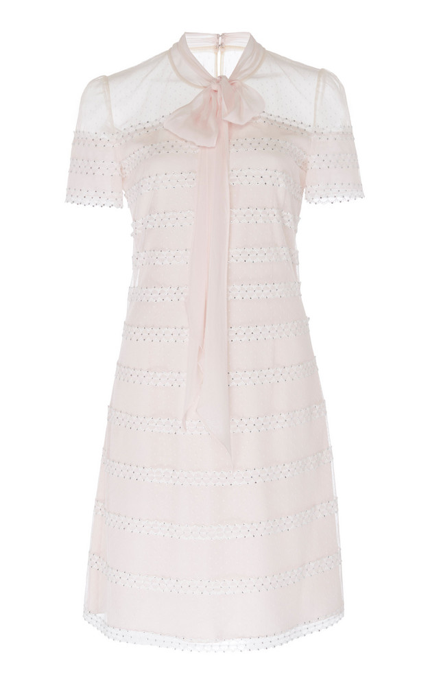 Jenny Packham Aster Polka-Dot Tulle Shift Dress in pink