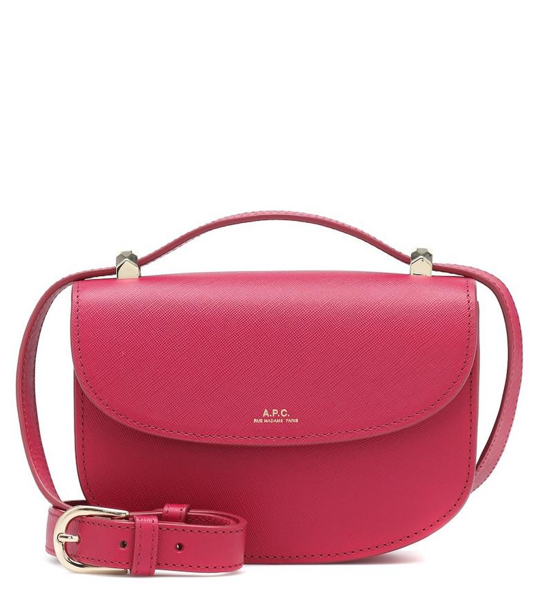 A.P.C. Genève leather shoulder bag in pink