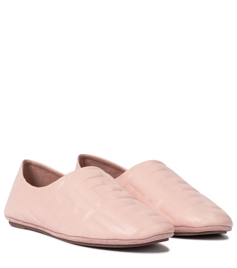Fendi FF embossed leather ballet flats in pink