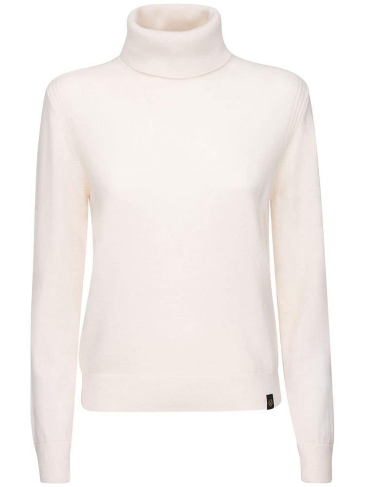 BELSTAFF Wool & Cashmere Knit Turtleneck Sweater in white