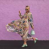bag,handbag,bucket bag,sandals,maxi dress,h&m,long dress