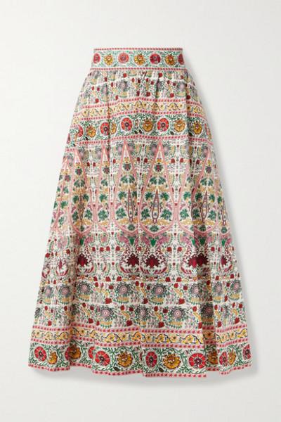 Alice + Olivia Alice Olivia - Earla Embroidered Floral-print Linen-blend Voile Midi Skirt - Ecru