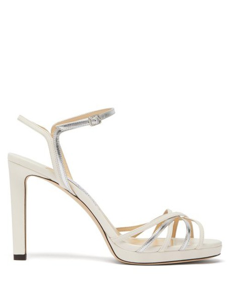 Jimmy Choo - Lilah 100 Metallic Leather Sandals - Womens - White Silver