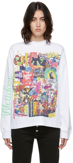 We11done Horror Collage Sweatshirt in white