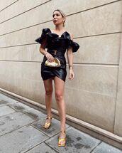 shoes,sandal heels,gold,mini dress,black dress,bag