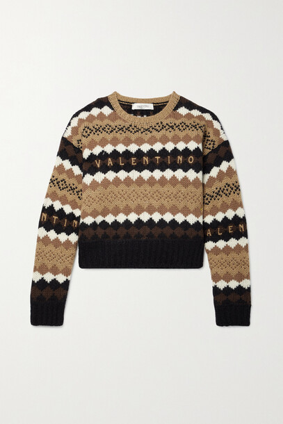 Valentino - Cropped Embroidered Metallic Wool Sweater - Brown